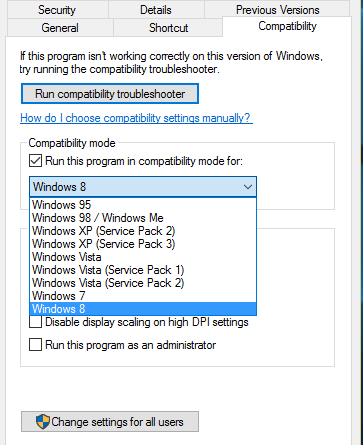 install older software in newer version of windows 8 10 compatibility moce