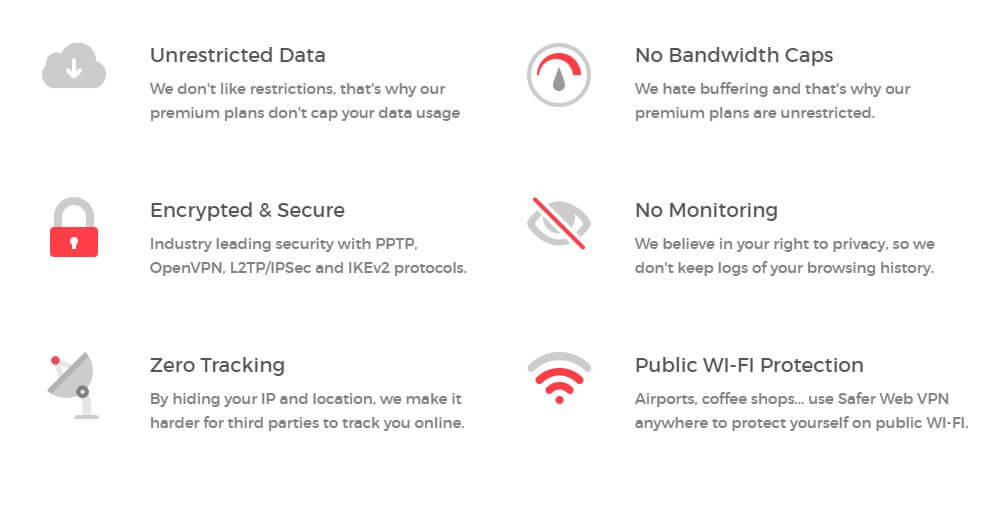 safer web vpn review - features