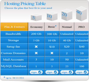 web host pricing (for indicative purposes)
